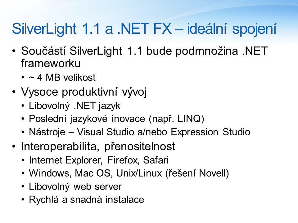 SilverLight 1.1 a.NET FX – ideální spojení Součástí SilverLight 1.1 bude podmnožina.NET frameworku ~ 4 MB velikost Vysoce produktivní vývoj Libovolný.NET jazyk Poslední jazykové inovace (např.