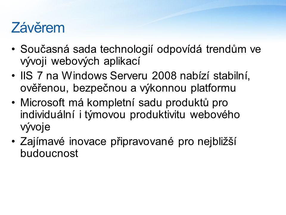 Závěrem Současná sada technologií odpovídá trendům ve vývoji webových aplikací IIS 7 na Windows Serveru 2008 nabízí stabilní, ověřenou, bezpečnou a výkonnou platformu Microsoft má kompletní sadu produktů pro individuální i týmovou produktivitu webového vývoje Zajímavé inovace připravované pro nejbližší budoucnost
