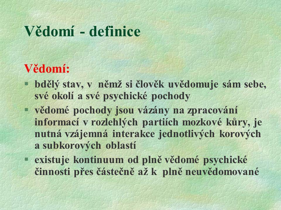 Vědomí - definice Vědomí: §bdělý stav, v němž si člověk uvědomuje sám sebe, své okolí a své psychické pochody §vědomé pochody jsou vázány na zpracován