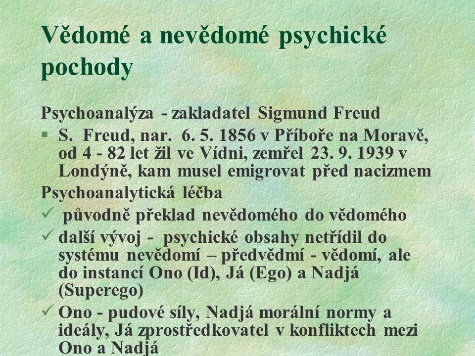 Vědomé a nevědomé psychické pochody Psychoanalýza - zakladatel Sigmund Freud §S. Freud, nar. 6. 5. 1856 v Příboře na Moravě, od 4 - 82 let žil ve Vídn