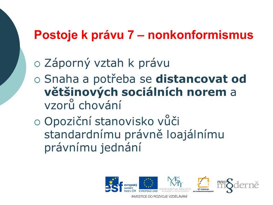 Postoje k právu 7 – nonkonformismus  Záporný vztah k právu  Snaha a potřeba se distancovat od většinových sociálních norem a vzorů chování  Opoziční stanovisko vůči standardnímu právně loajálnímu právnímu jednání