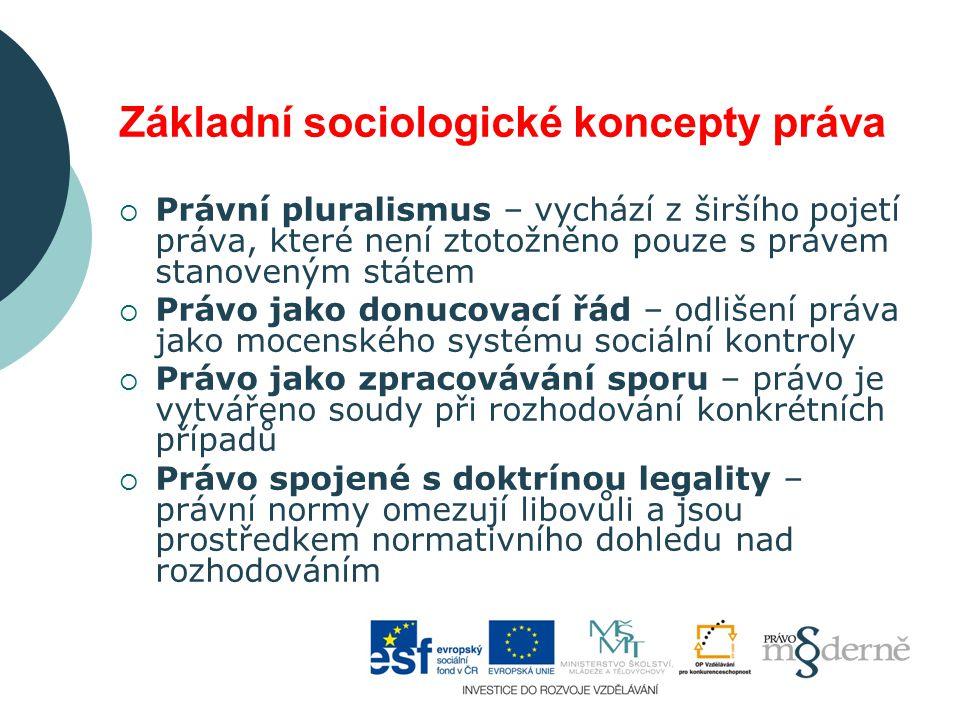 Základní sociologické koncepty práva  Právní pluralismus – vychází z širšího pojetí práva, které není ztotožněno pouze s právem stanoveným státem  Právo jako donucovací řád – odlišení práva jako mocenského systému sociální kontroly  Právo jako zpracovávání sporu – právo je vytvářeno soudy při rozhodování konkrétních případů  Právo spojené s doktrínou legality – právní normy omezují libovůli a jsou prostředkem normativního dohledu nad rozhodováním