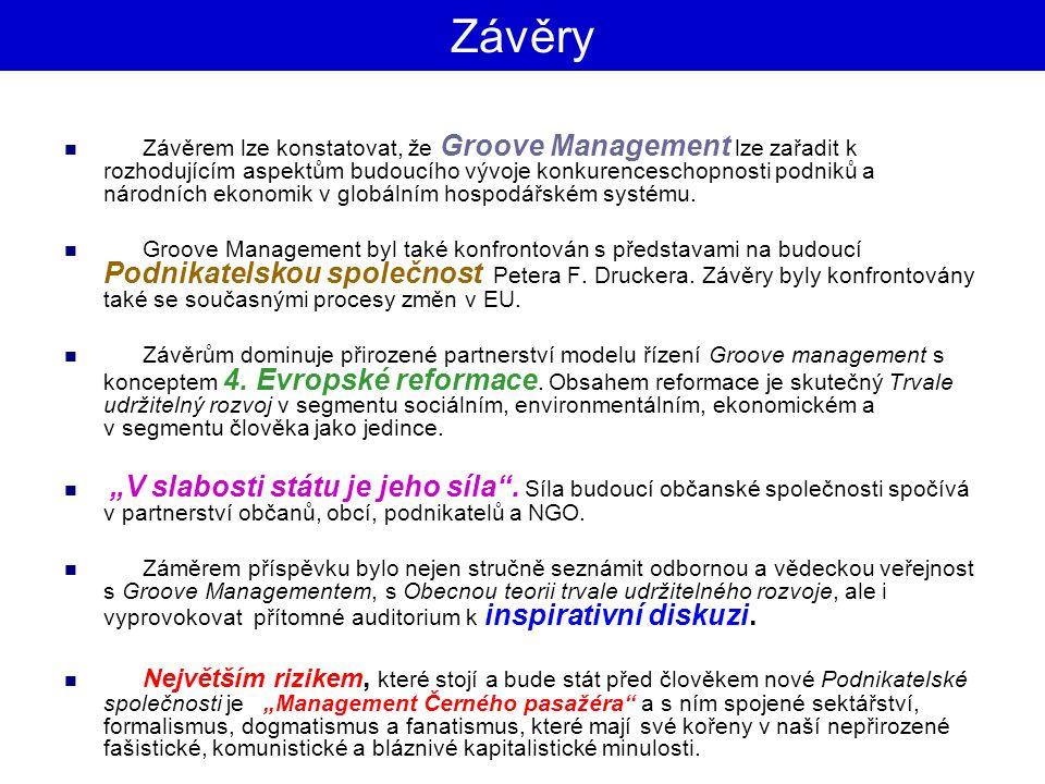 Závěry Závěrem lze konstatovat, že Groove Management lze zařadit k rozhodujícím aspektům budoucího vývoje konkurenceschopnosti podniků a národních eko