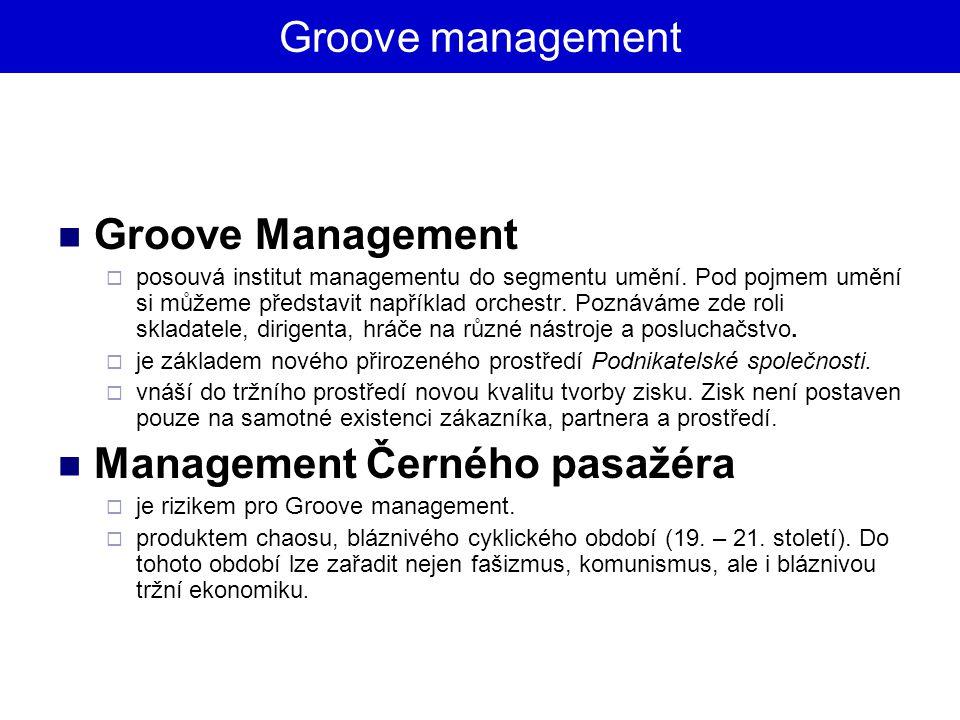 Groove management Groove Management  posouvá institut managementu do segmentu umění. Pod pojmem umění si můžeme představit například orchestr. Poznáv