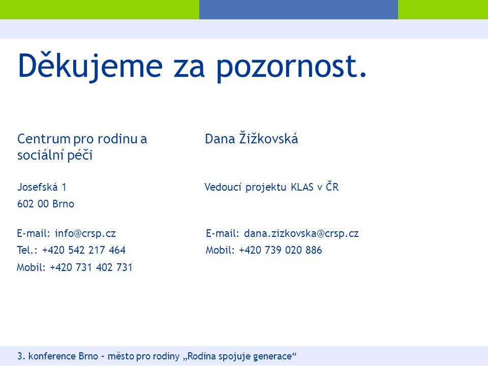 """Děkujeme za pozornost. 3. konference Brno – město pro rodiny """"Rodina spojuje generace"""" Josefská 1 602 00 Brno E-mail: dana.zizkovska@crsp.cz Mobil: +4"""
