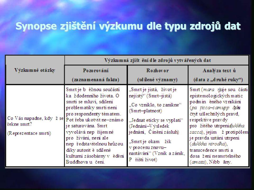 Synopse zjištění výzkumu dle typu zdrojů dat