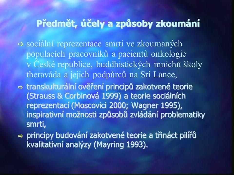 Předmět, účely a způsoby zkoumání   sociální reprezentace smrti ve zkoumaných populacích pracovníků a pacientů onkologie v České republice, buddhistických mnichů školy theraváda a jejich podpůrců na Srí Lance,  transkulturální ověření principů zakotvené teorie (Strauss & Corbinová 1999) a teorie sociálních reprezentací (Moscovici 2000; Wagner 1995), inspirativní možnosti způsobů zvládání problematiky smrti,  principy budování zakotvené teorie a třináct pilířů kvalitativní analýzy (Mayring 1993).