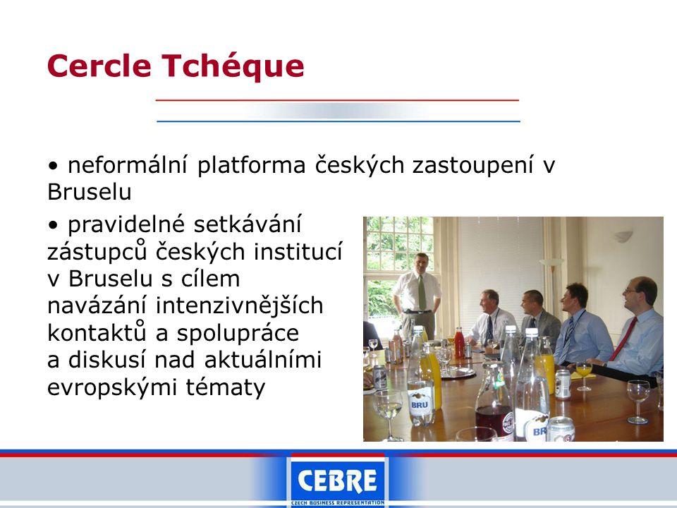 Cercle Tchéque neformální platforma českých zastoupení v Bruselu pravidelné setkávání zástupců českých institucí v Bruselu s cílem navázání intenzivnějších kontaktů a spolupráce a diskusí nad aktuálními evropskými tématy