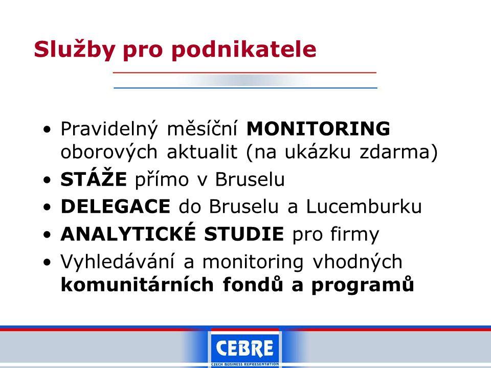 Služby pro podnikatele Pravidelný měsíční MONITORING oborových aktualit (na ukázku zdarma) STÁŽE přímo v Bruselu DELEGACE do Bruselu a Lucemburku ANALYTICKÉ STUDIE pro firmy Vyhledávání a monitoring vhodných komunitárních fondů a programů