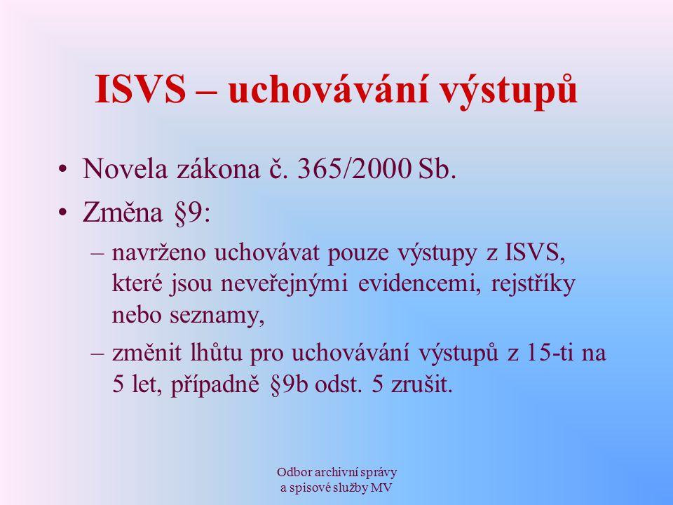 Odbor archivní správy a spisové služby MV ISVS – uchovávání výstupů Novela zákona č.