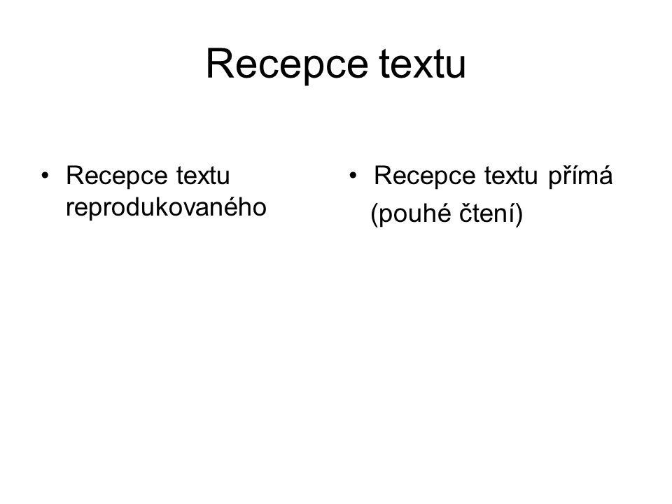 Recepce textu Recepce textu reprodukovaného Recepce textu přímá (pouhé čtení)