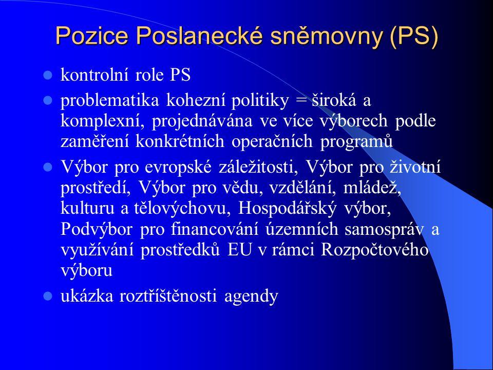 Pozice Poslanecké sněmovny (PS) kontrolní role PS problematika kohezní politiky = široká a komplexní, projednávána ve více výborech podle zaměření kon