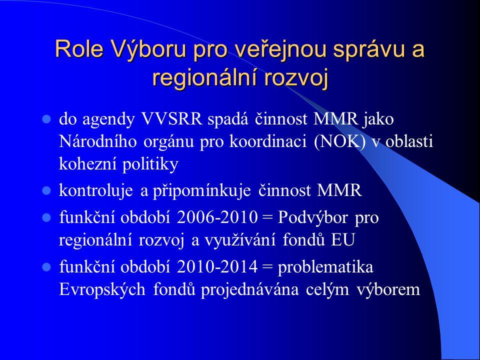 Role Výboru pro veřejnou správu a regionální rozvoj do agendy VVSRR spadá činnost MMR jako Národního orgánu pro koordinaci (NOK) v oblasti kohezní politiky kontroluje a připomínkuje činnost MMR funkční období 2006-2010 = Podvýbor pro regionální rozvoj a využívání fondů EU funkční období 2010-2014 = problematika Evropských fondů projednávána celým výborem