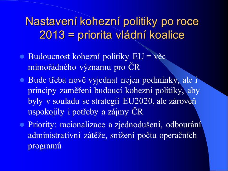 Nastavení kohezní politiky po roce 2013 = priorita vládní koalice Budoucnost kohezní politiky EU = věc mimořádného významu pro ČR Bude třeba nově vyjednat nejen podmínky, ale i principy zaměření budoucí kohezní politiky, aby byly v souladu se strategií EU2020, ale zároveň uspokojily i potřeby a zájmy ČR Priority: racionalizace a zjednodušení, odbourání administrativní zátěže, snížení počtu operačních programů
