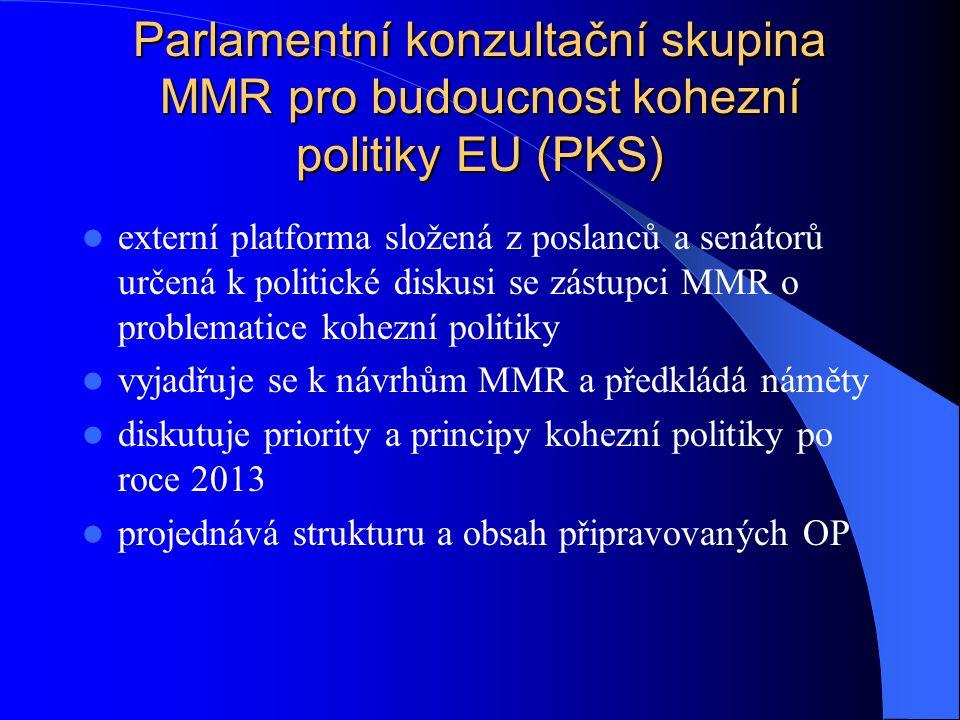 Hlavní přínosy PKS zintenzivní spolupráci MMR a širší politické reprezentace rozšiřuje okruh aktérů diskuse o budoucnosti kohezní politiky, dosažení nezbytného politického konsensu = silná a jednotná vyjednávací pozice ČR přináší nové podněty od aktérů vně systému administrativy evropských fondů