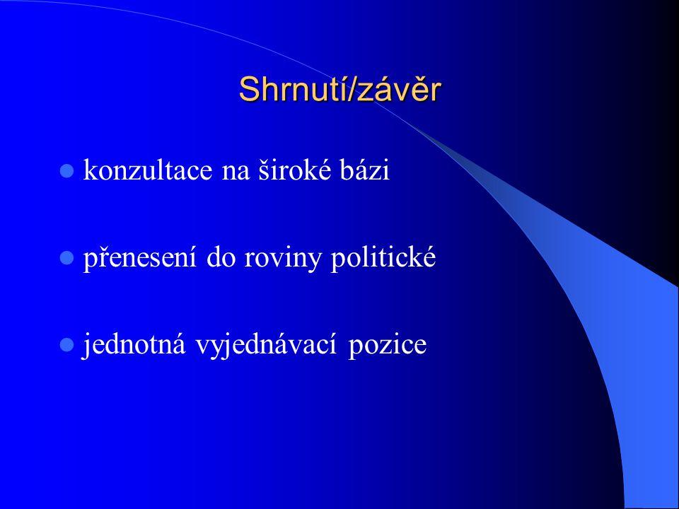 Shrnutí/závěr konzultace na široké bázi přenesení do roviny politické jednotná vyjednávací pozice