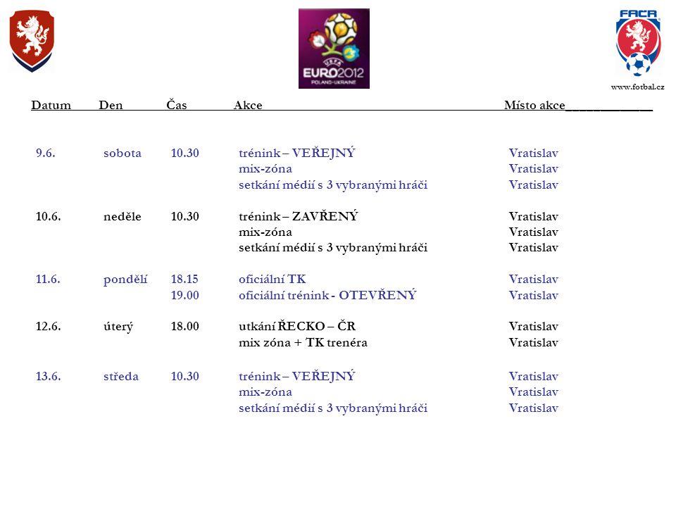 9.6.sobota10.30trénink – VEŘEJNÝVratislav mix-zónaVratislav setkání médií s 3 vybranými hráči Vratislav 10.6.neděle10.30trénink – ZAVŘENÝVratislav mix