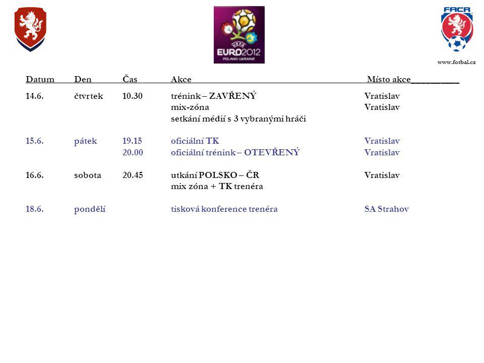 14.6.čtvrtek10.30trénink – ZAVŘENÝVratislav mix-zónaVratislav setkání médií s 3 vybranými hráči 15.6.pátek19.15oficiální TKVratislav 20.00oficiální tr