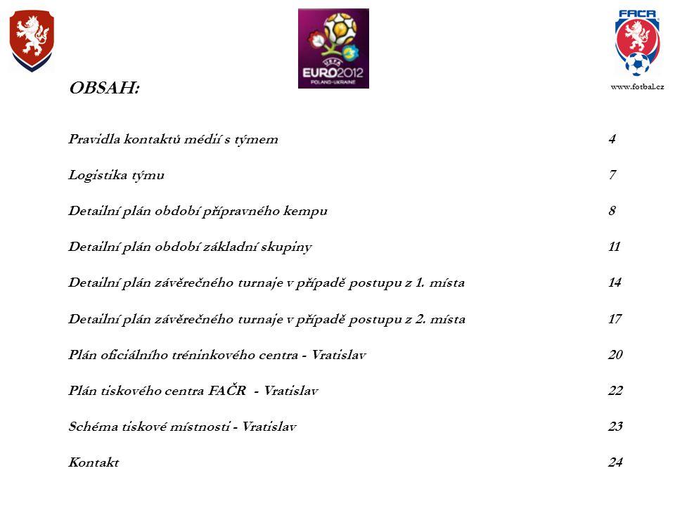OBSAH: Pravidla kontaktů médií s týmem4 Logistika týmu7 Detailní plán období přípravného kempu8 Detailní plán období základní skupiny11 Detailní plán závěrečného turnaje v případě postupu z 1.