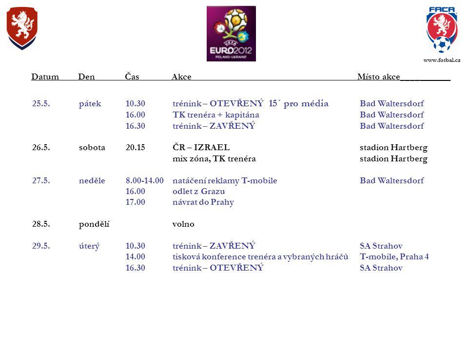 25.5.pátek10.30trénink – OTEVŘENÝ 15´ pro média Bad Waltersdorf 16.00TK trenéra + kapitánaBad Waltersdorf 16.30trénink – ZAVŘENÝBad Waltersdorf 26.5.sobota20.15ČR – IZRAEL stadion Hartberg mix zóna, TK trenérastadion Hartberg 27.5.neděle8.00-14.00natáčení reklamy T-mobileBad Waltersdorf 16.00odlet z Grazu 17.00návrat do Prahy 28.5.pondělívolno 29.5.úterý10.30trénink – ZAVŘENÝSA Strahov 14.00tisková konference trenéra a vybraných hráčůT-mobile, Praha 4 16.30trénink – OTEVŘENÝSA Strahov DatumDenČasAkce Místo akce___________ www.fotbal.cz