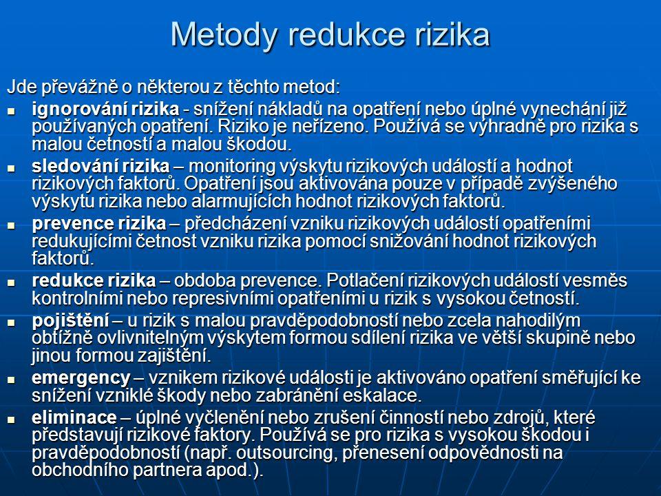 Metody redukce rizika Jde převážně o některou z těchto metod: ignorování rizika - snížení nákladů na opatření nebo úplné vynechání již používaných opatření.
