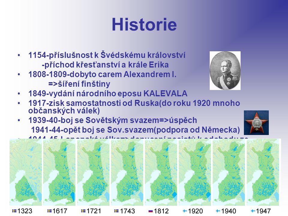 Historie 1154-příslušnost k Švédskému království -příchod křesťanství a krále Erika 1808-1809-dobyto carem Alexandrem I.