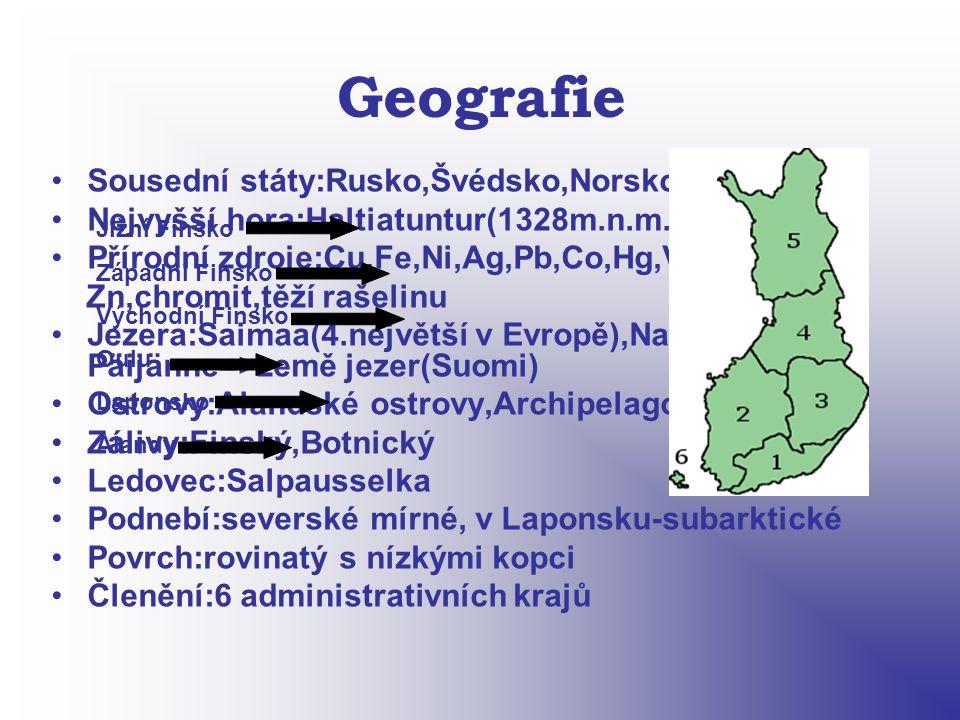 Geografie Sousední státy:Rusko,Švédsko,Norsko Nejvyšší hora:Haltiatuntur(1328m.n.m.) Přírodní zdroje:Cu,Fe,Ni,Ag,Pb,Co,Hg,V, Zn,chromit,těží rašelinu Jezera:Saimaa(4.největší v Evropě),Nasi, Päijänne=>země jezer(Suomi) Ostrovy:Alandské ostrovy,Archipelago Zálivy:Finský,Botnický Ledovec:Salpausselka Podnebí:severské mírné, v Laponsku-subarktické Povrch:rovinatý s nízkými kopci Členění:6 administrativních krajů Jižní Finsko Západní Finsko Východní Finsko Oulu Laponsko Ålandy