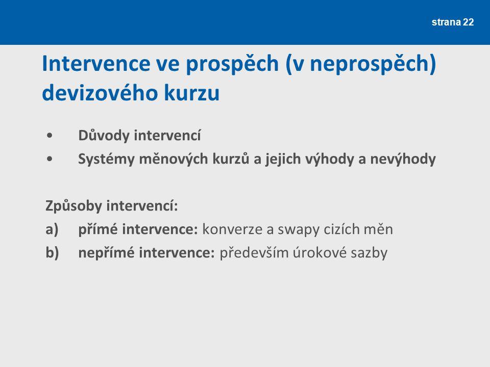 strana 22 Intervence ve prospěch (v neprospěch) devizového kurzu Důvody intervencí Systémy měnových kurzů a jejich výhody a nevýhody Způsoby intervenc