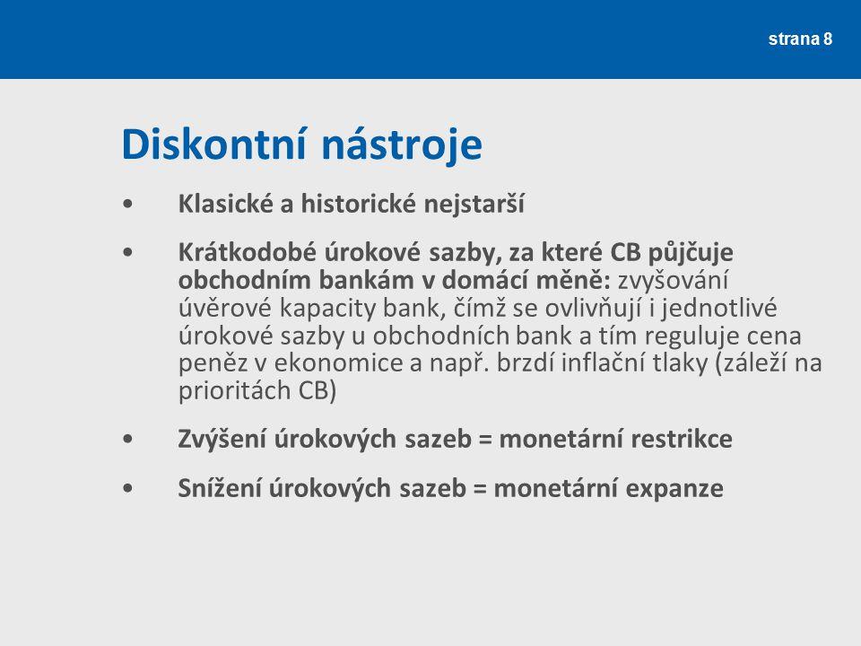 strana 8 Diskontní nástroje Klasické a historické nejstarší Krátkodobé úrokové sazby, za které CB půjčuje obchodním bankám v domácí měně: zvyšování úv