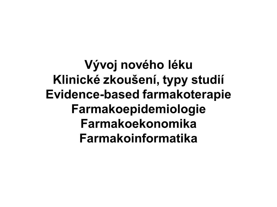 Vývoj nového léku Klinické zkoušení, typy studií Evidence-based farmakoterapie Farmakoepidemiologie Farmakoekonomika Farmakoinformatika