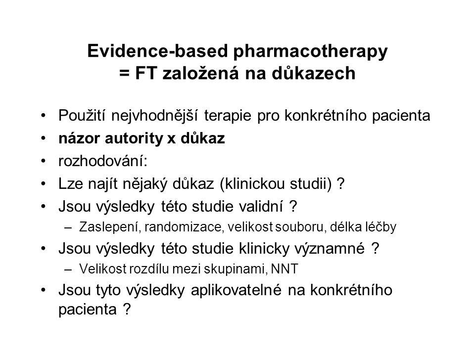 Evidence-based pharmacotherapy = FT založená na důkazech Použití nejvhodnější terapie pro konkrétního pacienta názor autority x důkaz rozhodování: Lze najít nějaký důkaz (klinickou studii) .