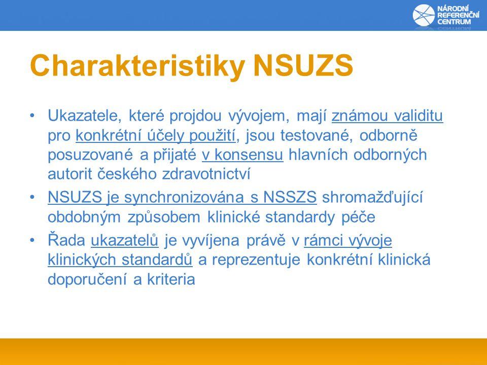 Charakteristiky NSUZS Ukazatele, které projdou vývojem, mají známou validitu pro konkrétní účely použití, jsou testované, odborně posuzované a přijaté v konsensu hlavních odborných autorit českého zdravotnictví NSUZS je synchronizována s NSSZS shromažďující obdobným způsobem klinické standardy péče Řada ukazatelů je vyvíjena právě v rámci vývoje klinických standardů a reprezentuje konkrétní klinická doporučení a kriteria