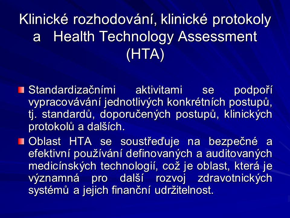 Klinické rozhodování, klinické protokoly a Health Technology Assessment (HTA) Standardizačními aktivitami se podpoří vypracovávání jednotlivých konkrétních postupů, tj.