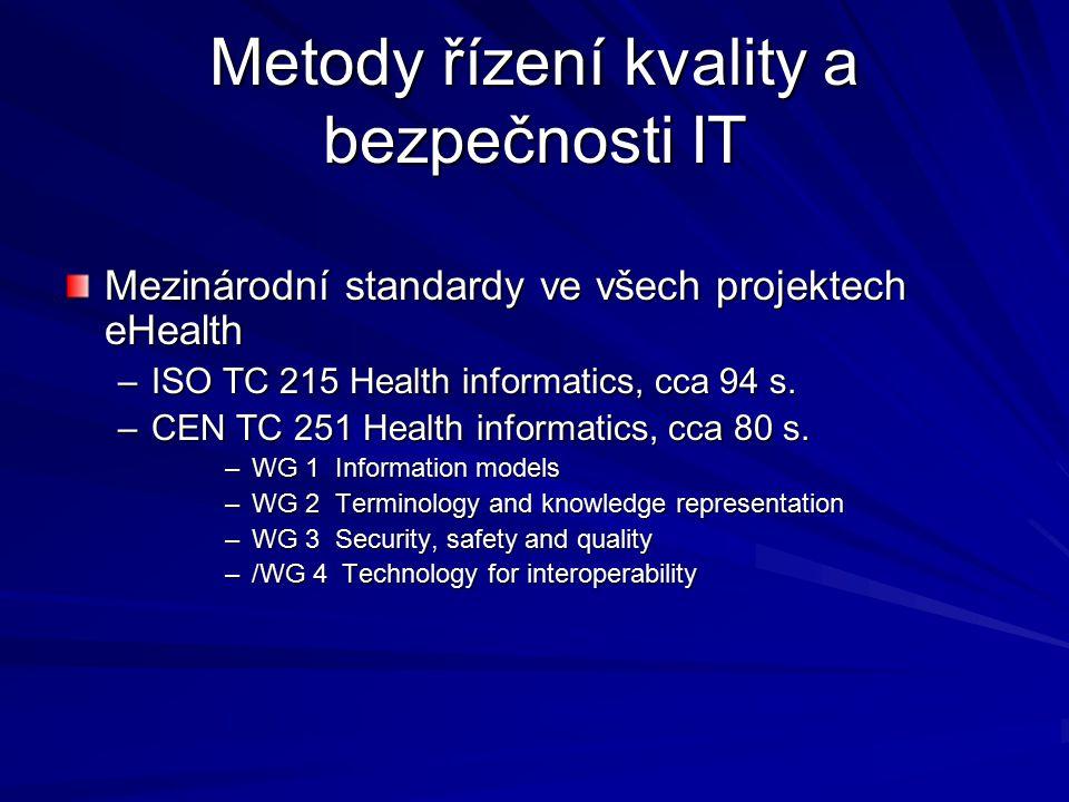 Metody řízení kvality a bezpečnosti IT Mezinárodní standardy ve všech projektech eHealth –ISO TC 215 Health informatics, cca 94 s.