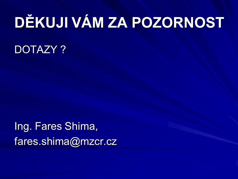 DĚKUJI VÁM ZA POZORNOST DOTAZY ? Ing. Fares Shima, fares.shima@mzcr.cz