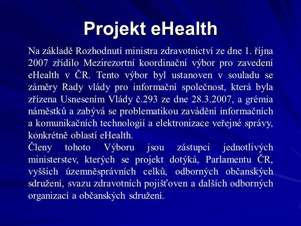 Projekt eHealth Na základě Rozhodnutí ministra zdravotnictví ze dne 1.