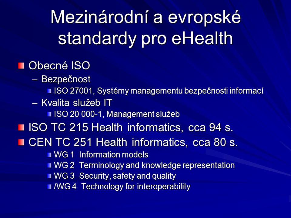 Mezinárodní a evropské standardy pro eHealth Obecné ISO –Bezpečnost ISO 27001, Systémy managementu bezpečnosti informací –Kvalita služeb IT ISO 20 000-1, Management služeb ISO TC 215 Health informatics, cca 94 s.
