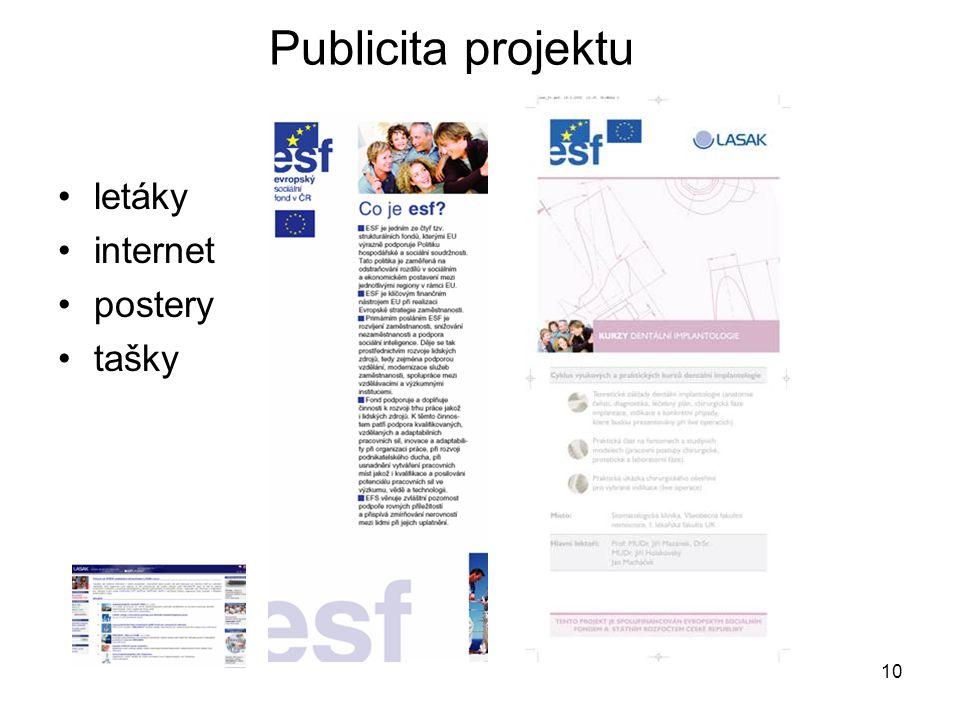 10 letáky internet postery tašky Publicita projektu