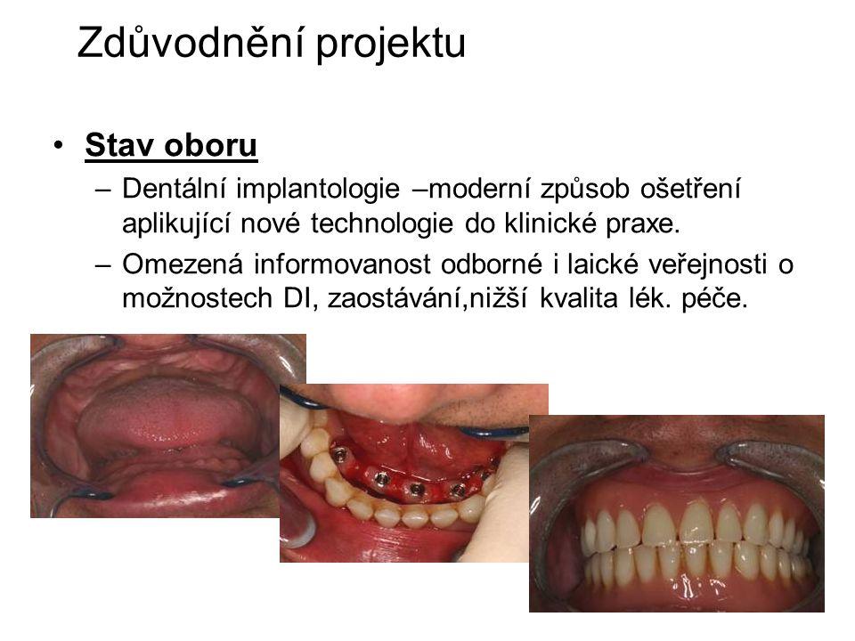 2 Zdůvodnění projektu Stav oboru –Dentální implantologie –moderní způsob ošetření aplikující nové technologie do klinické praxe.