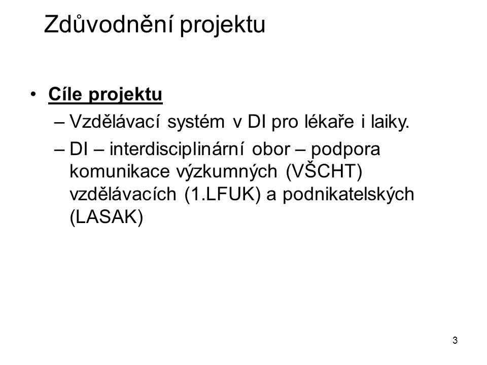 3 Cíle projektu –Vzdělávací systém v DI pro lékaře i laiky.