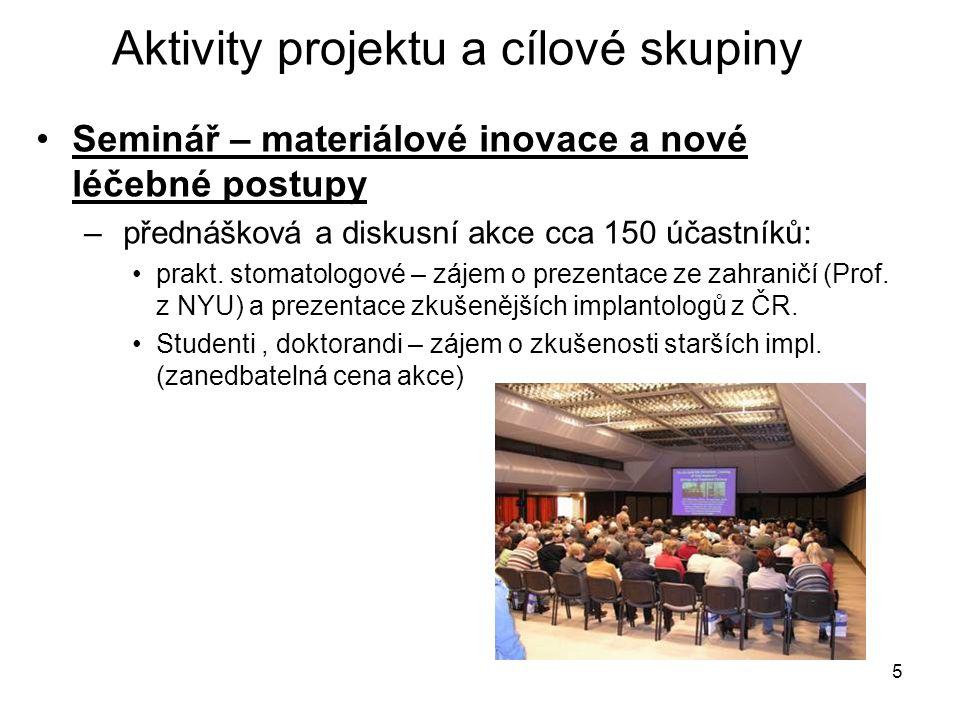5 Seminář – materiálové inovace a nové léčebné postupy – přednášková a diskusní akce cca 150 účastníků: prakt.