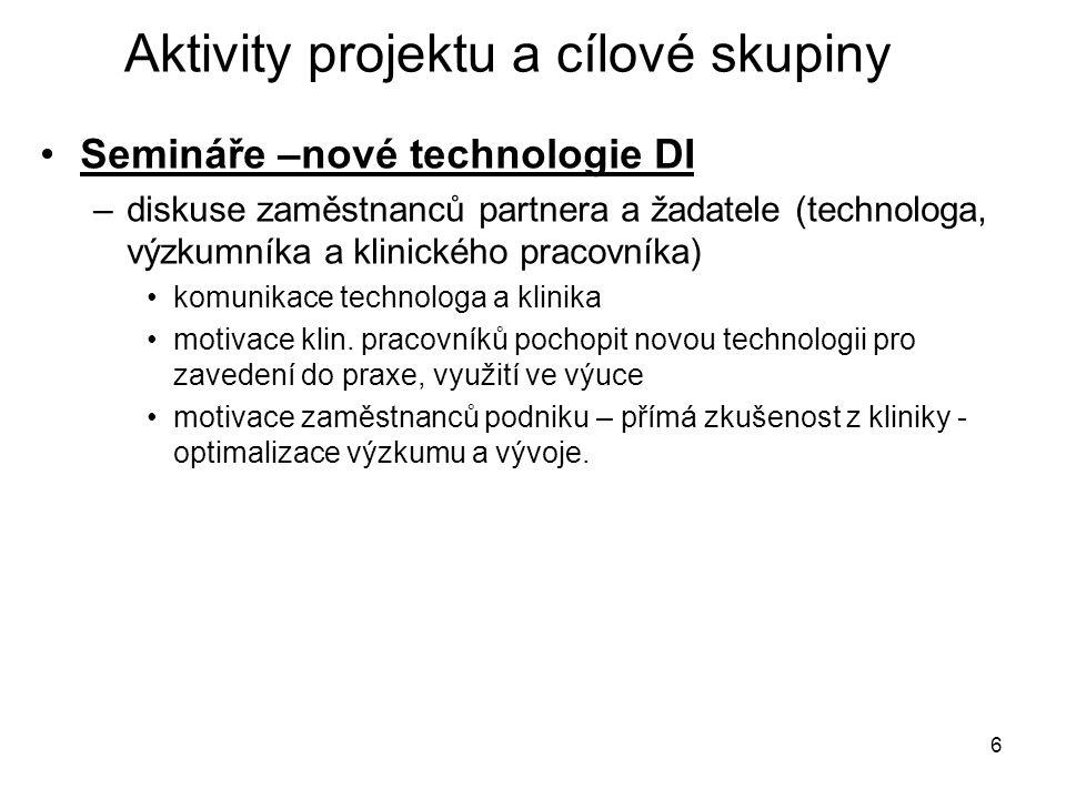 6 Aktivity projektu a cílové skupiny Semináře –nové technologie DI –diskuse zaměstnanců partnera a žadatele (technologa, výzkumníka a klinického pracovníka) komunikace technologa a klinika motivace klin.