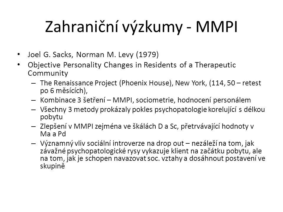 Zahraniční výzkumy - MMPI Joel G. Sacks, Norman M. Levy (1979) Objective Personality Changes in Residents of a Therapeutic Community – The Renaissance