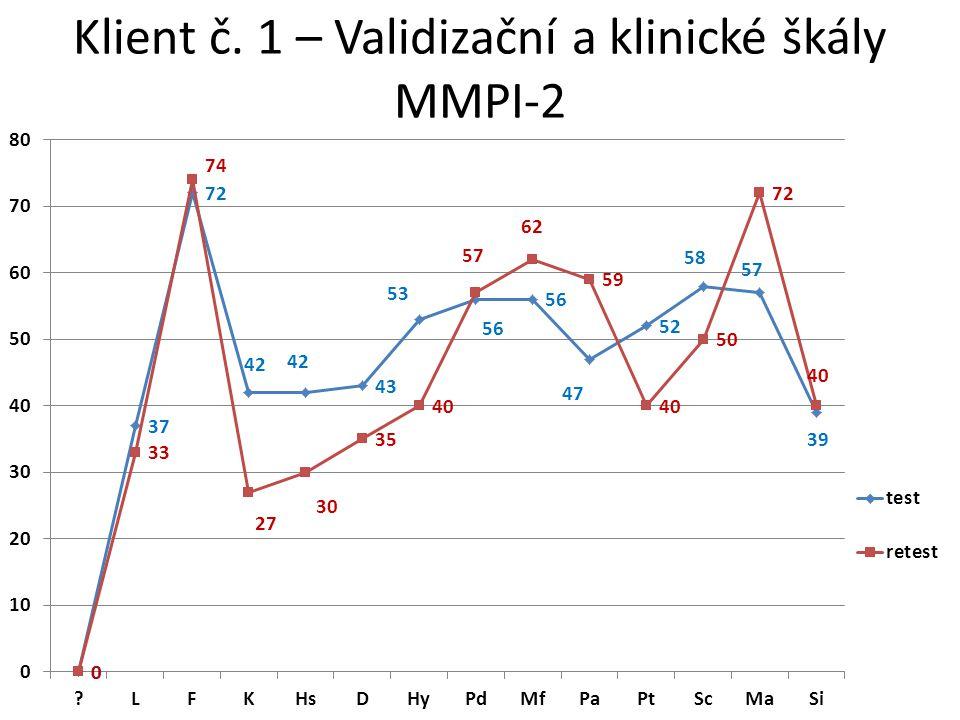 Klient č. 1 – Validizační a klinické škály MMPI-2