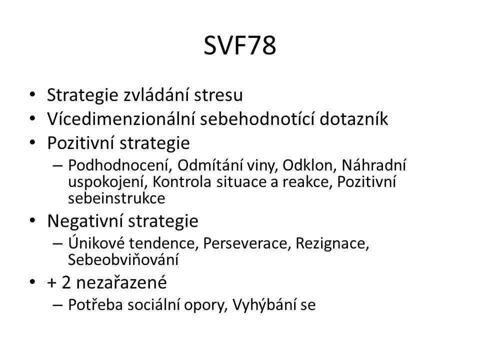 SVF78 Strategie zvládání stresu Vícedimenzionální sebehodnotící dotazník Pozitivní strategie – Podhodnocení, Odmítání viny, Odklon, Náhradní uspokojení, Kontrola situace a reakce, Pozitivní sebeinstrukce Negativní strategie – Únikové tendence, Perseverace, Rezignace, Sebeobviňování + 2 nezařazené – Potřeba sociální opory, Vyhýbání se