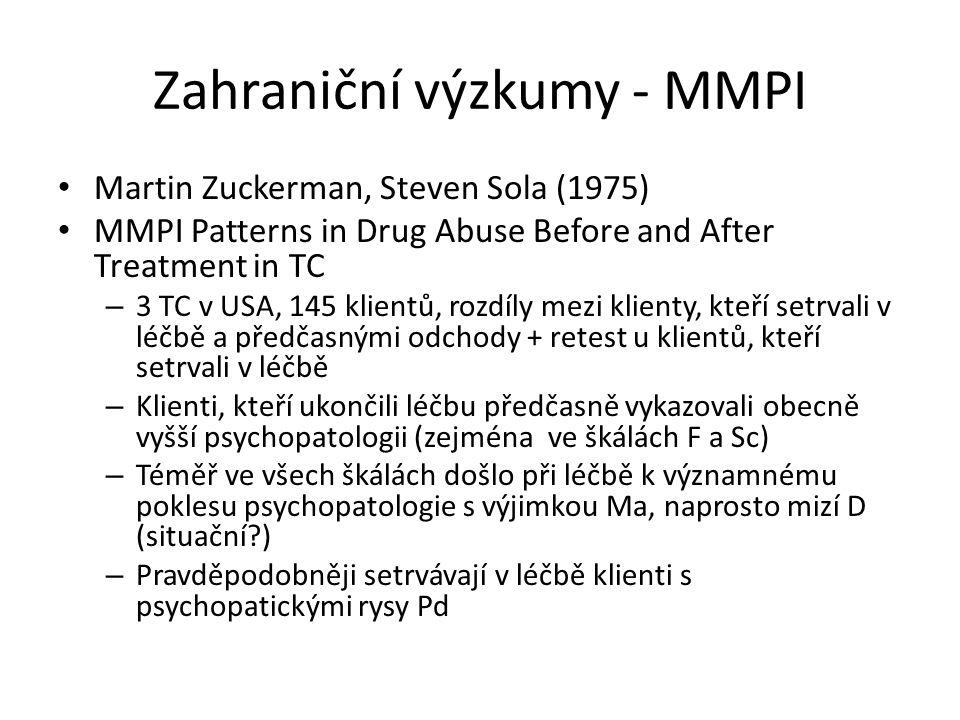 Zahraniční výzkumy - MMPI Martin Zuckerman, Steven Sola (1975) MMPI Patterns in Drug Abuse Before and After Treatment in TC – 3 TC v USA, 145 klientů, rozdíly mezi klienty, kteří setrvali v léčbě a předčasnými odchody + retest u klientů, kteří setrvali v léčbě – Klienti, kteří ukončili léčbu předčasně vykazovali obecně vyšší psychopatologii (zejména ve škálách F a Sc) – Téměř ve všech škálách došlo při léčbě k významnému poklesu psychopatologie s výjimkou Ma, naprosto mizí D (situační?) – Pravděpodobněji setrvávají v léčbě klienti s psychopatickými rysy Pd