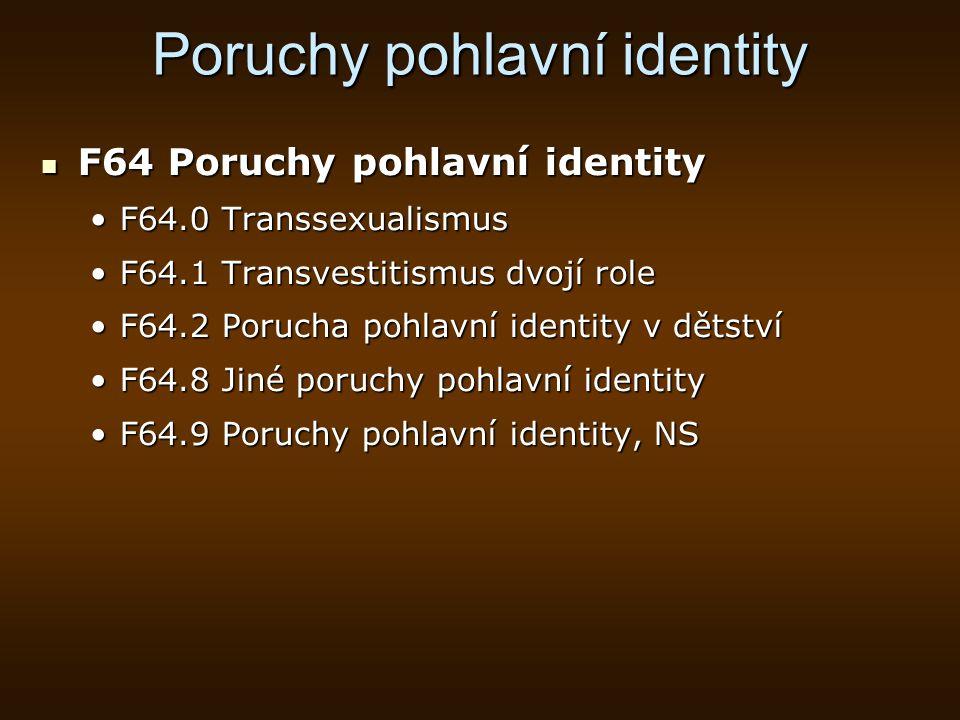 Poruchy pohlavní identity F64 Poruchy pohlavní identity F64 Poruchy pohlavní identity F64.0 TranssexualismusF64.0 Transsexualismus F64.1 Transvestitis