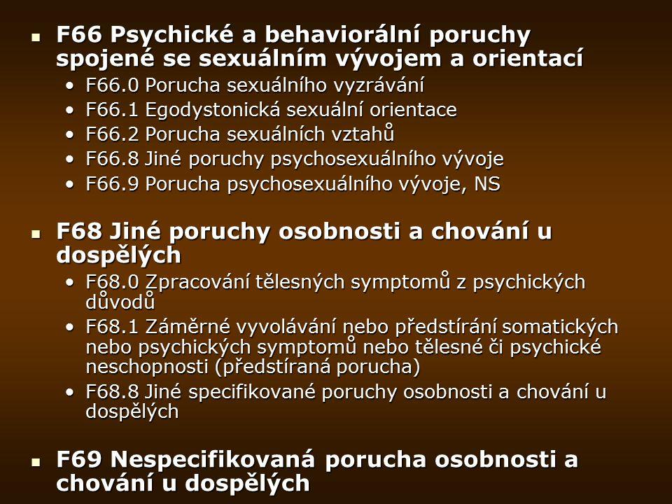 F66 Psychické a behaviorální poruchy spojené se sexuálním vývojem a orientací F66 Psychické a behaviorální poruchy spojené se sexuálním vývojem a orie
