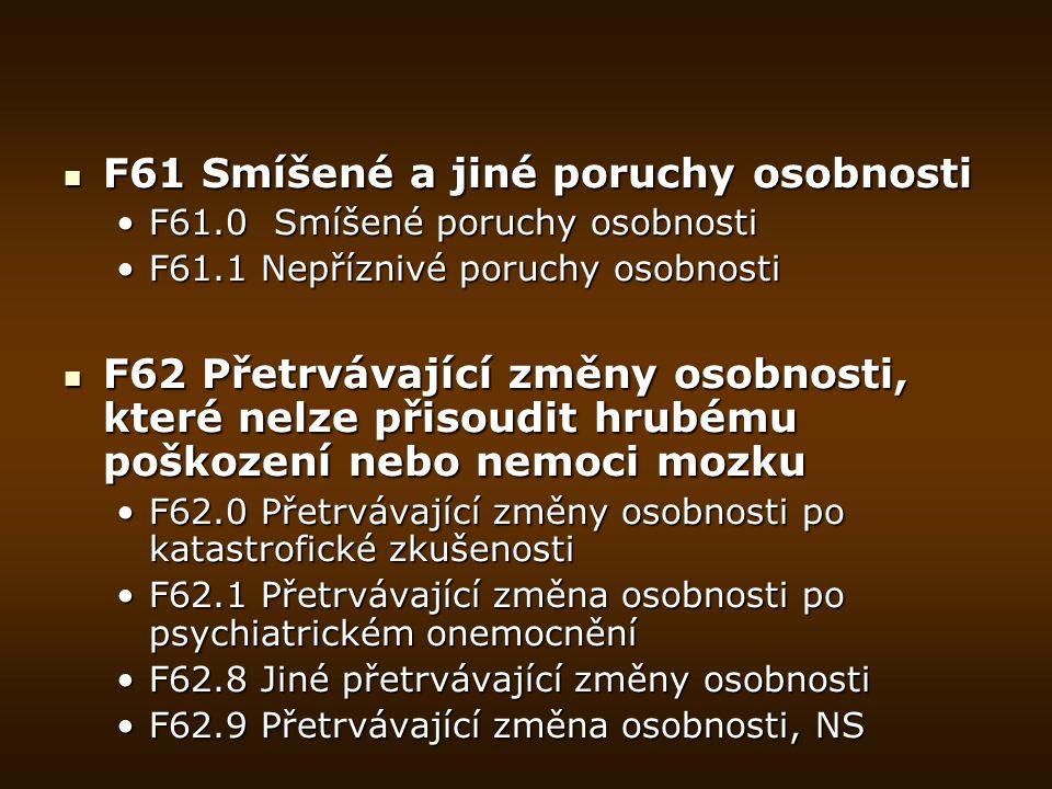 F66 Psychické a behaviorální poruchy spojené se sexuálním vývojem a orientací F66 Psychické a behaviorální poruchy spojené se sexuálním vývojem a orientací F66.0 Porucha sexuálního vyzráváníF66.0 Porucha sexuálního vyzrávání F66.1 Egodystonická sexuální orientaceF66.1 Egodystonická sexuální orientace F66.2 Porucha sexuálních vztahůF66.2 Porucha sexuálních vztahů F66.8 Jiné poruchy psychosexuálního vývojeF66.8 Jiné poruchy psychosexuálního vývoje F66.9 Porucha psychosexuálního vývoje, NSF66.9 Porucha psychosexuálního vývoje, NS F68 Jiné poruchy osobnosti a chování u dospělých F68 Jiné poruchy osobnosti a chování u dospělých F68.0 Zpracování tělesných symptomů z psychických důvodůF68.0 Zpracování tělesných symptomů z psychických důvodů F68.1 Záměrné vyvolávání nebo předstírání somatických nebo psychických symptomů nebo tělesné či psychické neschopnosti (předstíraná porucha)F68.1 Záměrné vyvolávání nebo předstírání somatických nebo psychických symptomů nebo tělesné či psychické neschopnosti (předstíraná porucha) F68.8 Jiné specifikované poruchy osobnosti a chování u dospělýchF68.8 Jiné specifikované poruchy osobnosti a chování u dospělých F69 Nespecifikovaná porucha osobnosti a chování u dospělých F69 Nespecifikovaná porucha osobnosti a chování u dospělých