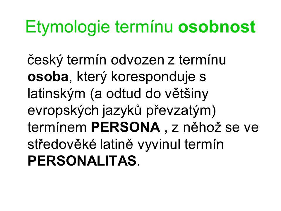 Etymologie termínu osobnost český termín odvozen z termínu osoba, který koresponduje s latinským (a odtud do většiny evropských jazyků převzatým) term